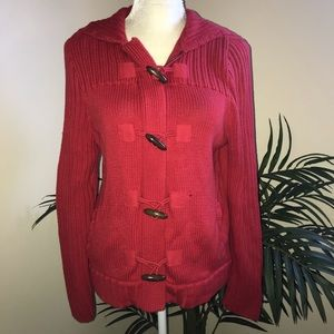 NWT Liz Claiborne Zip Toggle Hooded Red Sweater L